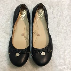 Vince Camuto Ria Black Leather Ballet Flat